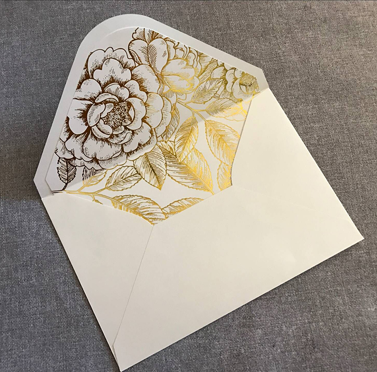 Customizable rectangle square envelope with gold foil floral liner
