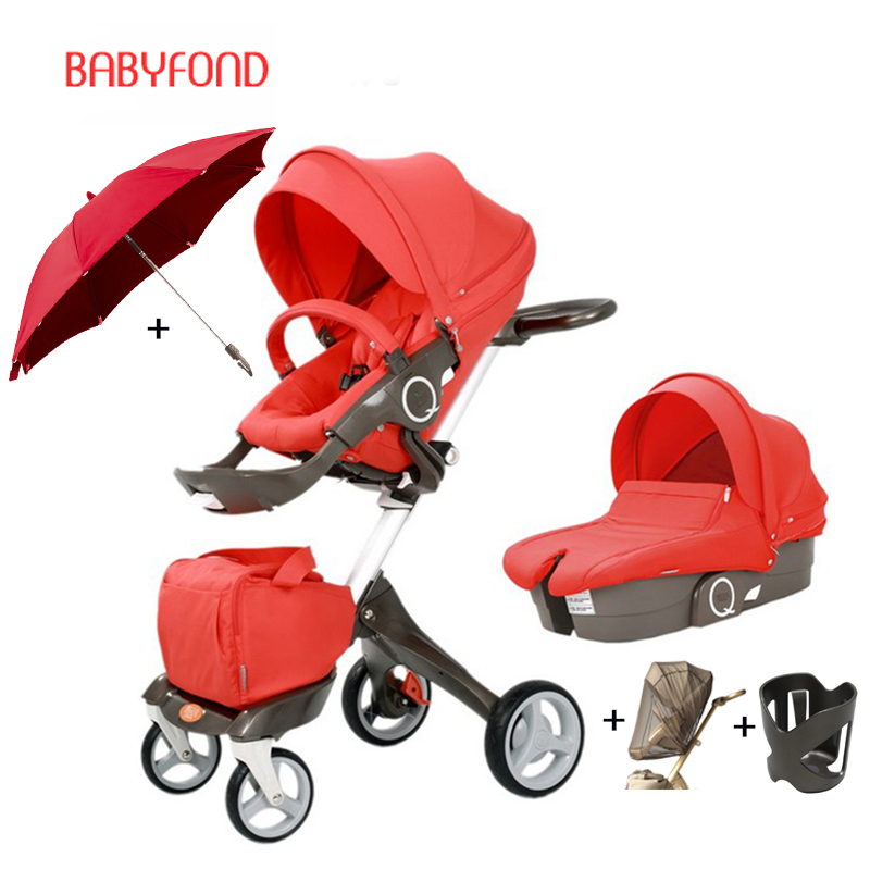 HK free ! original Luxury Baby Stroller High Landscape Portable Baby Carriages Folding Prams For Newborns Travel System 2 in 1 super light luxury baby stroller high landscape folding baby car shockproof portable prams and pushchairs for newborns 4 2kg
