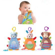 Newborns Baby Toys 0-12 Months Appease Towel Soft Animals Monkey Toy Infant Calm Grasp Ring Sound Teether Toy For Boy Girl Gift baby infant cute lion plush toy comfort towel with sound paper and teether dog soft appease stuffed toy playmate calm doll