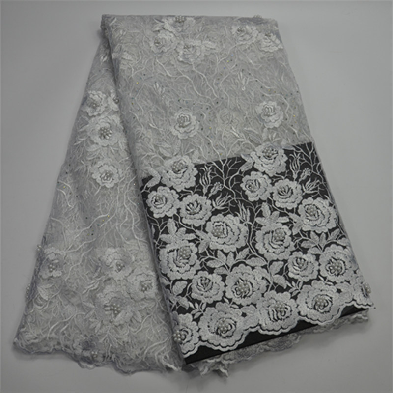 Latest french Lace Fashion nigerian Tulle lace fabrics for wedding 2018 african net lace fabric high quality with beads