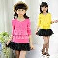 Children's Girls Render Unlined Upper Garment Spring False Two Long Sleeve Lace Blouse Joker T-shirts Flowers Lace 3 Colour