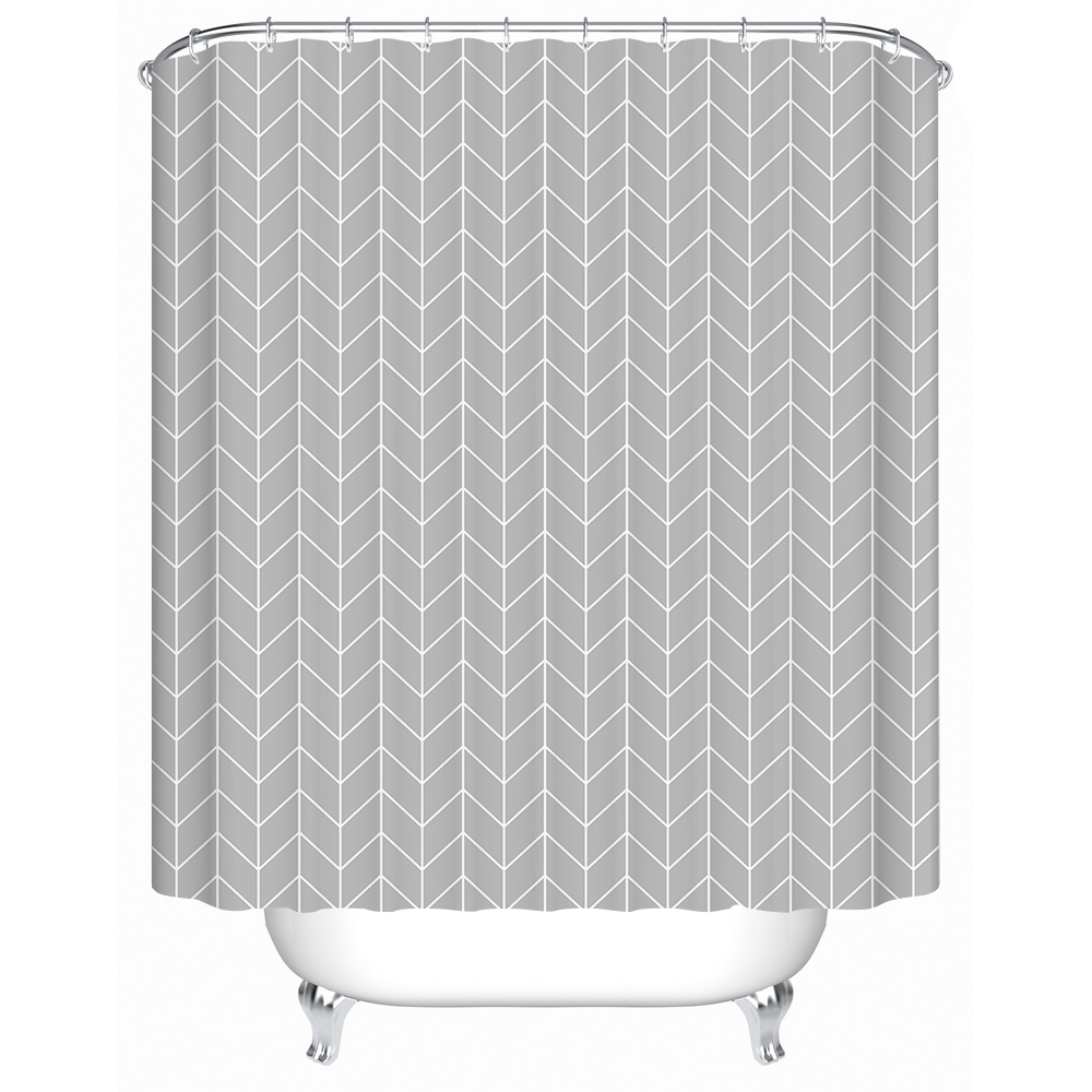 grey geometric printing shower curtain waterproof mildewproof polyester fabric bath curtain