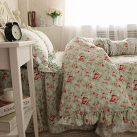 Pastoral rose print bedding set ruffle duvet cover thicken cotton bedding elegant bedspread bed sheet princess bed cover skirt