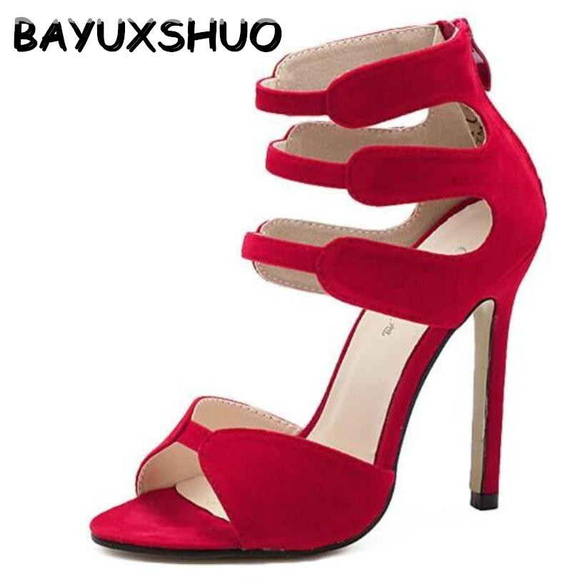 BAYUXSHUO Brand Gladiator High Heels Sandals Women Sexy Open Toe Cut Outs Shoes Zipper Wedding Party Stiletto Pumps Shoes Woman denim zipper hollow worn stiletto womens sandals