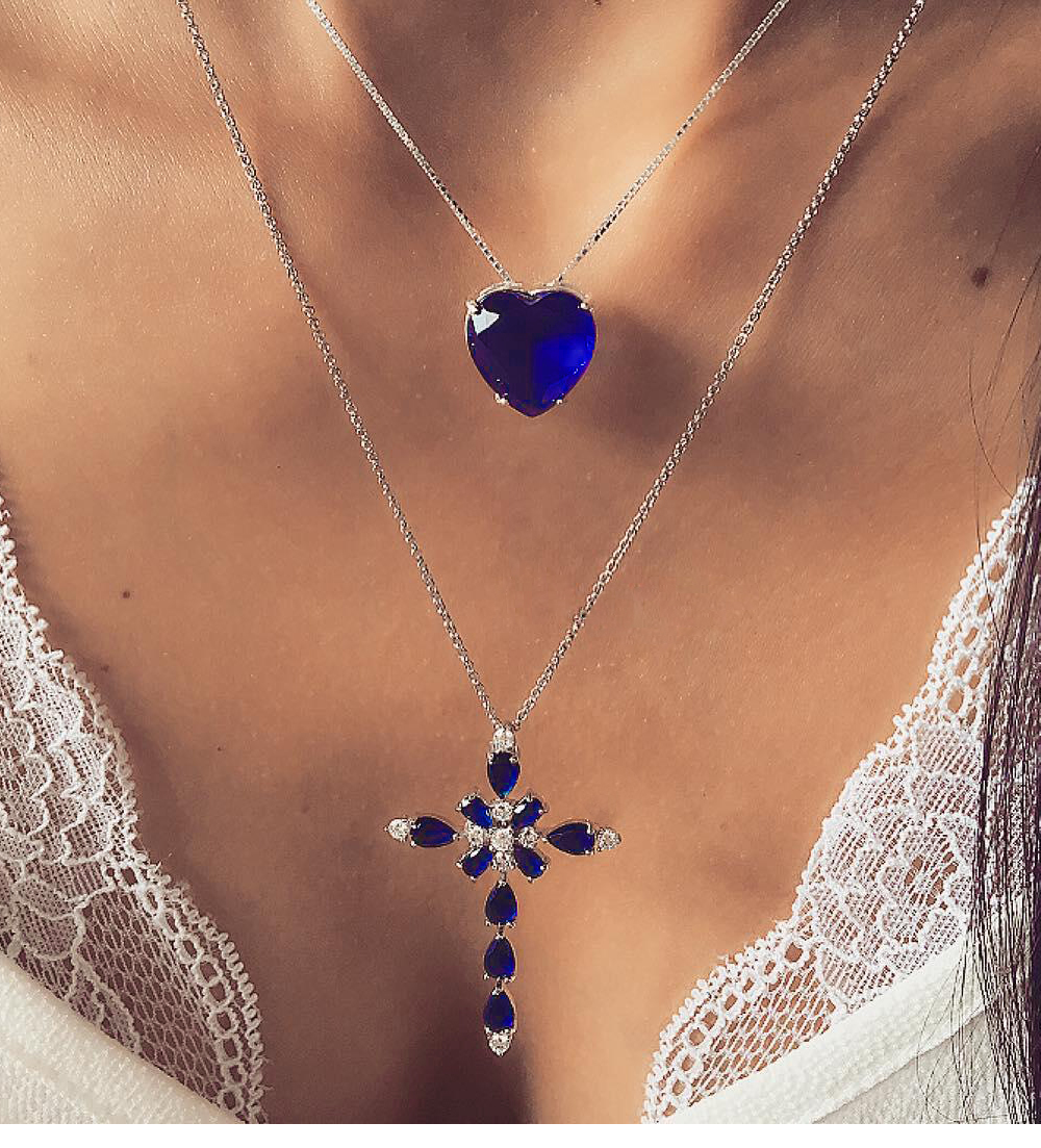 Multilayer Blue Crystal Heart Cross Pendant Necklace
