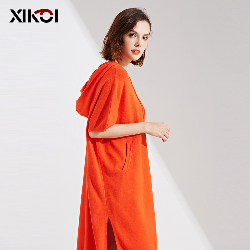 Poche Tricoté Pulls Femme Dames Nouveauté grey Femmes Chandails orange Pleine Longue Chandail Black cou Mode Robe Nouveau Solide O 5LcR4S3Ajq