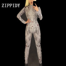 Luxurious Pearls Crystals Jumpsuit Bodysuit Women Stage Dance Show Nightclub Party Female Singer Costume Celebrate Outfit