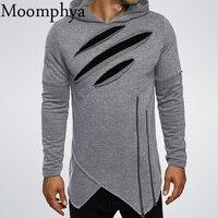 Moomphya 2017ผู้ชายยาวสีดำเสื้อH OodiesฉีกซิปผิดปกติฮิปฮอปHigh Street wear