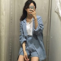 Summer Cotton and Linen Pant Suits for Women Loose One Button Blazer and Elastic Waisted Hot Shorts 2 Pieces Women Set 2018