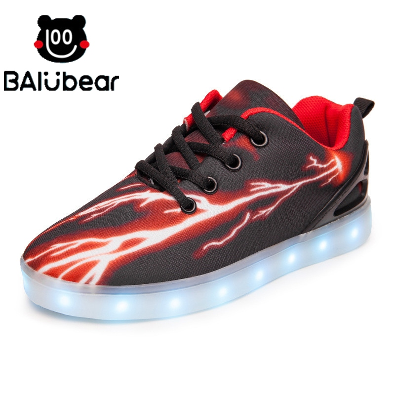 2017 New Autumn Fashion Children Shoes With Light Led Kids Shoes Luminous Glowing Sneakers Baby Toddler Boys Girls Shoes 26-31 glowing sneakers usb charging shoes lights up colorful led kids luminous sneakers glowing sneakers black led shoes for boys