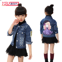 Girls Jean Jacket Of Spring Autumn Child Outfit 2017 New Baby Girls Cowboy Coat Jackets Cartoon