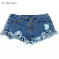 Modstreets 2018 European And American BF Summer Wind Female Blue High Waist Denim Shorts Women Worn