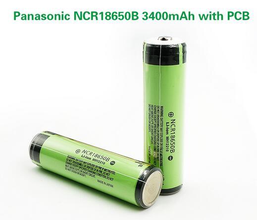 2 pçs/lote Novo Original Protegido Panasonic 18650 NCR18650B Baterias de 3.7 V 3400 mAh Recarregável Li-ion Battery com PCB
