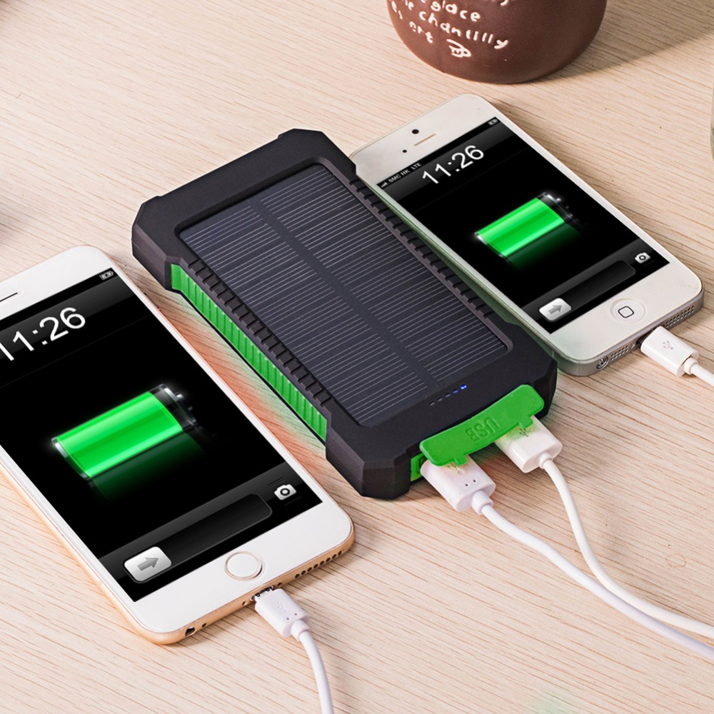 For Xiaomi mi iphone 6 7 8 20000mAh LED Solar Power Bank Waterproof Solar Charger 2 USB Ports External Charger Polymer Powerbank in Power Bank from Cellphones Telecommunications