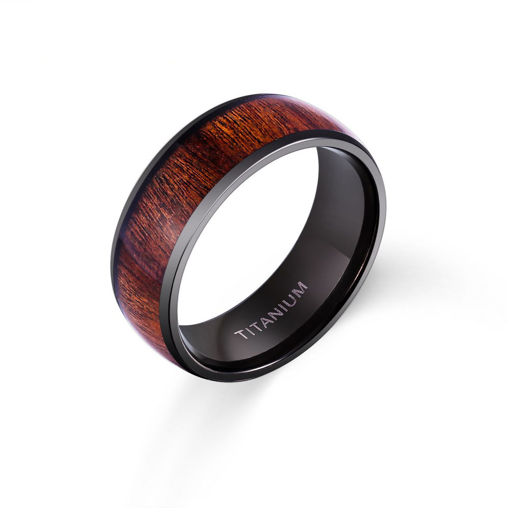 New Design Vantage 8mm Black Plating Solid Titanium Ring for Man Fashion Jewelry Band inlay Wood Dome Band US Size 6-13 equte rssc4c99s5 fashionable elegant titanium steel women s ring black us size 5