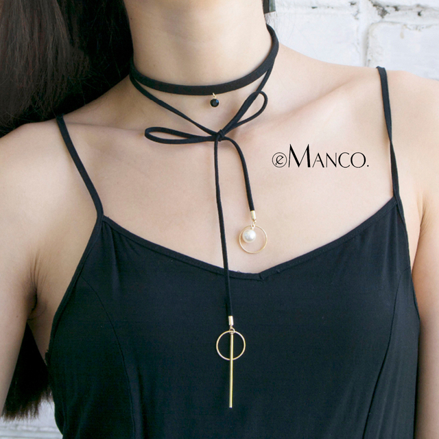 eManco Collar Pearl Choker Necklace Bowknot Sexy Crystal &Leather Necklace Gifts