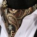Paisley Floral Impresso Gravata Handerchief Conjunto Ocasional Tecido Jacquard Laços Ascot Lenço para Ternos dos homens de Negócios Do Partido -- 2