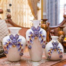 Europe purple creative ceramic wedding flowers vase home decor crafts room decoration objects porcelain figurine vases