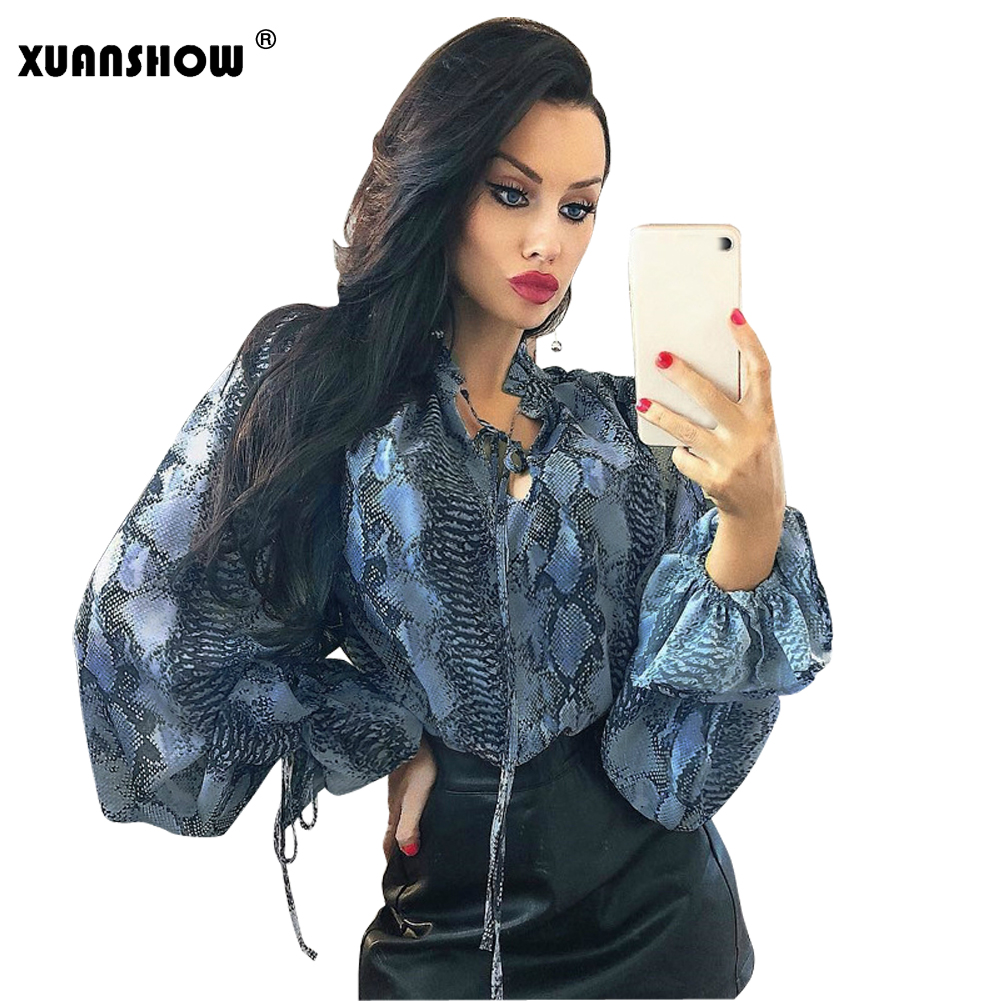Women's Clothing Xuanshow Blusas Mujer De Moda 2019 Modis Flare Sleeve V Neck Ruffles Womens Blouse Snake Print Chiffon Lace Up Tee Shirt Femme Promoting Health And Curing Diseases