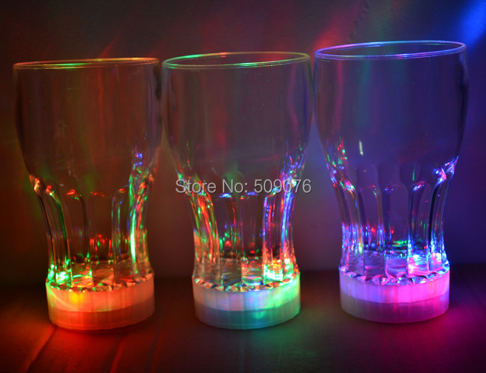 Free shipping 24pcs/lot 165ML/5.8OZ LED Auto-Light-Up Drink Flashing Acrylic Cola Beer Barware Glass Romantic Gifts