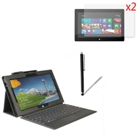 4in1 luxe magnetische folio stand leather case cover + 2x screen protector + 1x stylus voor microsoft surface pro 1 2 pro2 10.6