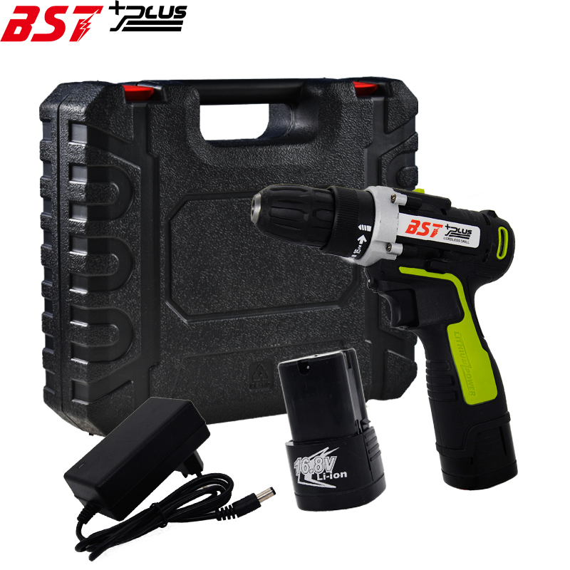 BST+PLUS(SIXTH STYLE)16.8V LITHIUM-ION BATTERY CORDLESS ELECTRIC HAND DRILL HOLE ELECTRIC SCREWDRIVER DRIVER WRENCH POWER TOOLS bst plus one style 16 8v lithium battery 2 speed cordless drill mini drill hand tools electric drill power tools screwdriver
