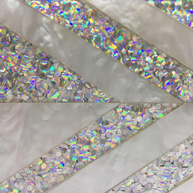 Новейшая женская серебряная блестящая акриловая сумка-клатч с геометрическим узором в стиле пэчворк акриловая вечерняя сумочка элегантная Свадебная сумка через плечо