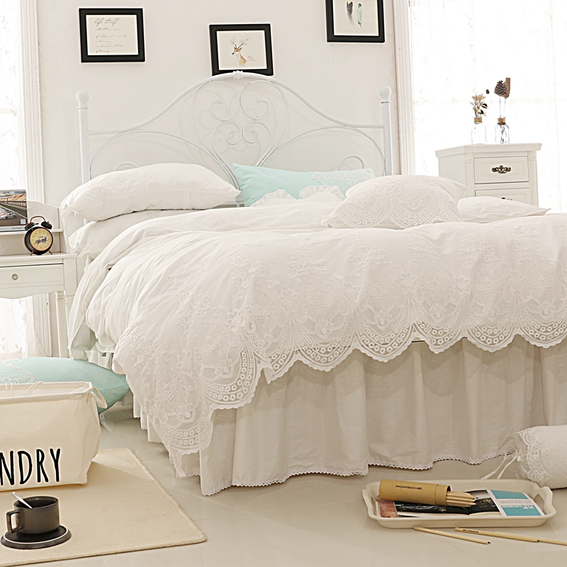 White Lace Bedding Set Cotton Twin Full Queen King Size