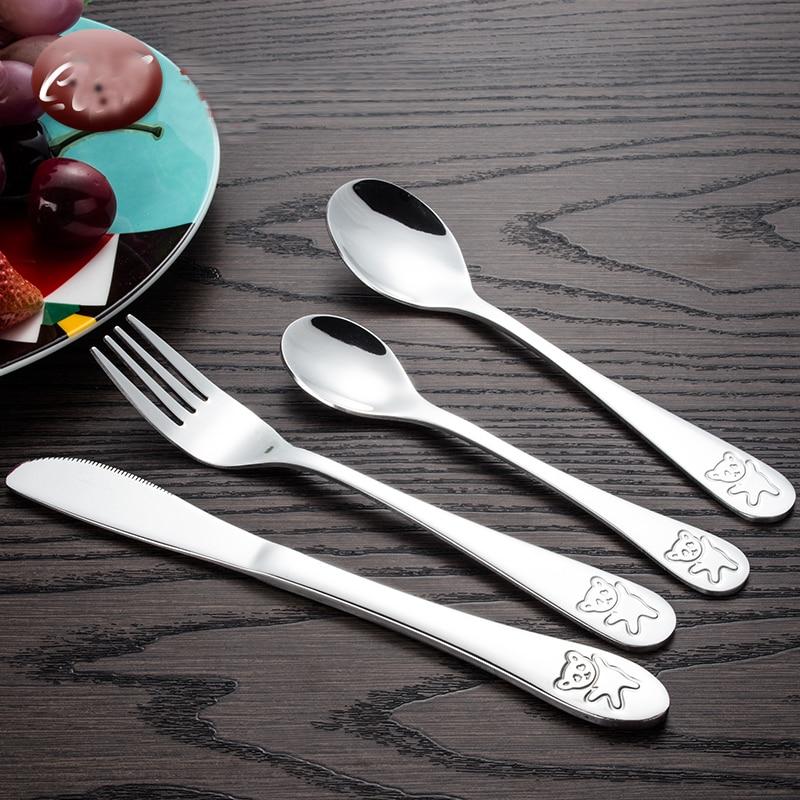 Children Tableware Cutlery Set 4Pcs Stainless Steel Child Panda Quality Kids Dinner Knives Forks Sets Food Dining Dinnerware Set