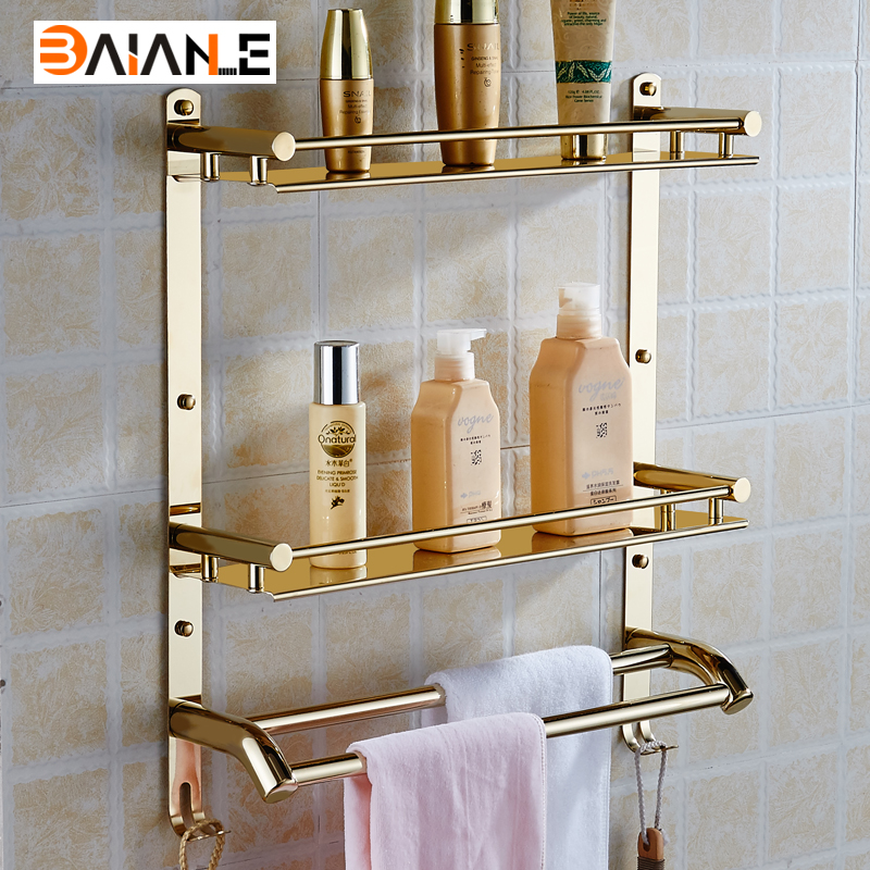 Wall mounted bathroom shelf Stainless steel bathroom towel rack shelf hanging towel holder multi-functional widgets copper bathroom shelf basket soap dish copper storage holder silver