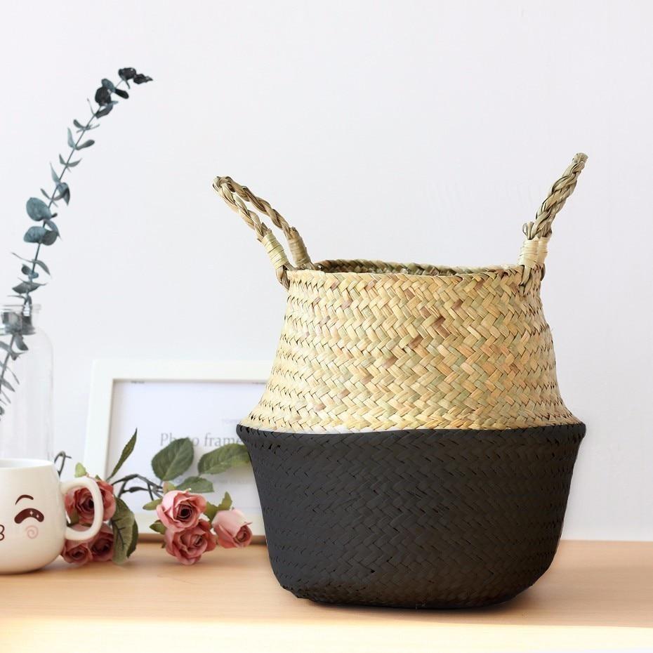 Seagrass Wickerwork Storage Baskets Rattan Foldable Hanging Flower Pot Planter Woven Laundry Clothing Storage Basket Home Decor