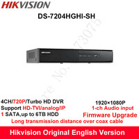 Hikvision Original English Turbo HD DVR DS 7204HGHI SH Support HD TVI Analog IP Camera 4ch