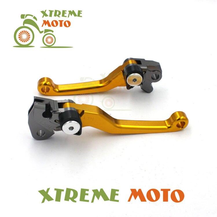 Gold CNC Aluminum Billet Pivot Foldable Brake Clutch Levers For Suzuki RMZ 250 RMZ450 Motocross Motorcycle Enduro Dirt Bike cnc adjustable motorcycle billet foldable pivot extendable clutch