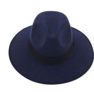 Модные Винтаж Для женщин шляпа с широкими полями ленты теплая шерсть Смеси фетровая шляпа котелок Fedora Кепки - Цвет: Blue