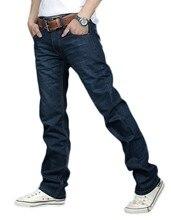 Korea Men's Jeans Slim Fit Classic denim Jeans Trousers Straight Leg Blue Size 30~34 Button New Blue