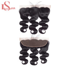 LS Hair Peruvian Body Wave Lace Frontal Closure Free Part Ear To Ear With Baby Hair Natural Black Remy Human Hair Frontal 13*4(China)