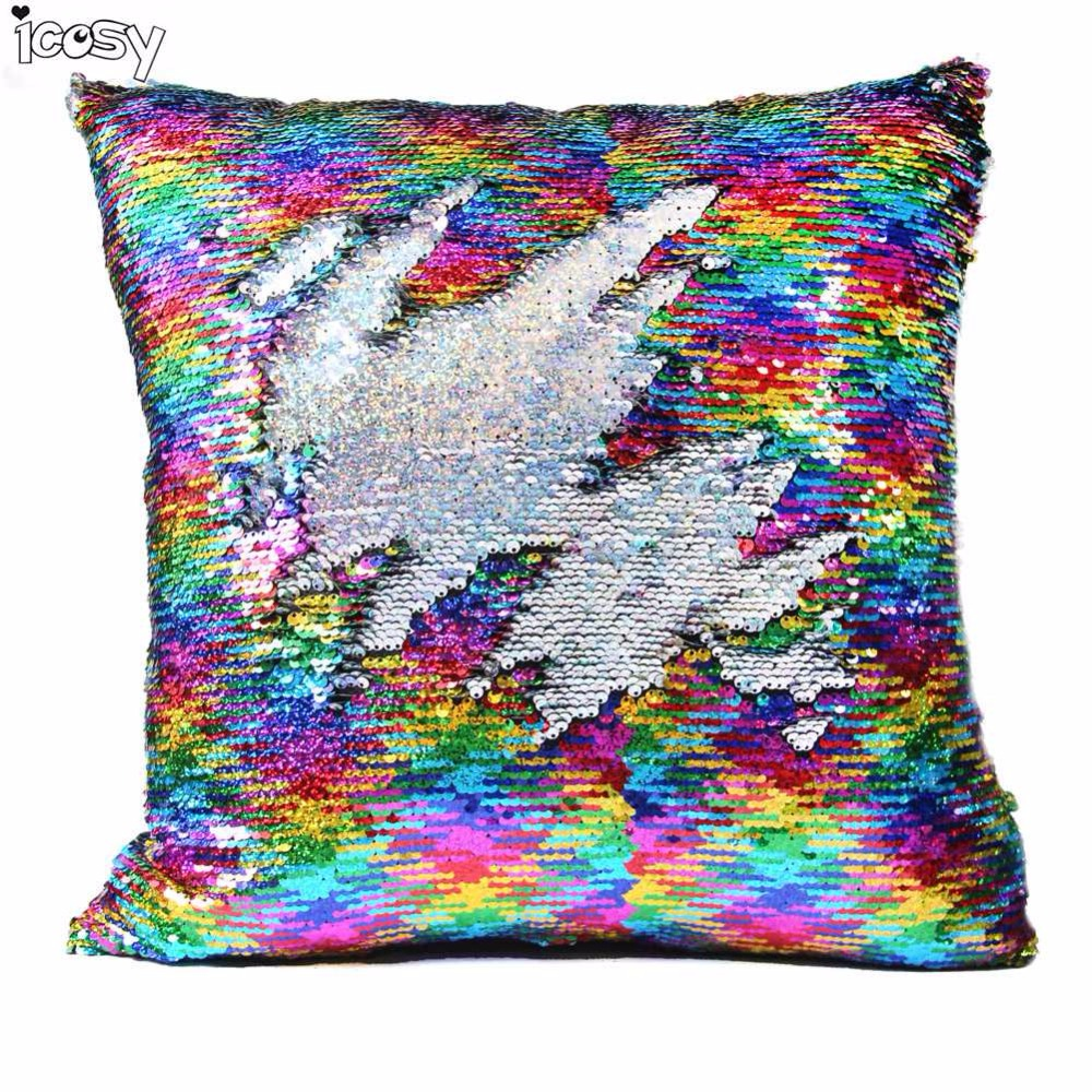 Icosy Cuscino Decorativo Mermaid Pillow Case Covers Reversibile Tiro Federe Home Decor Trasporto di Goccia Regalo di Capodanno