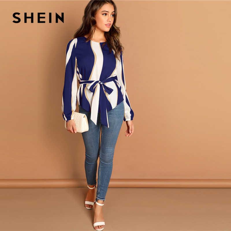 Shein moderno senhora marinha auto com cinto listrado colher pescoço camisa pullovers topo feminino streetwear outono minimalista elegante blusa