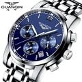 Мужчины кварцевые часы Оригинальный бренд GUANQIN стали мужские часы световой водонепроницаемый Наручные Часы многофункциональный моды часы мужчин