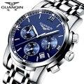 Men quartz watch Original top brand GUANQIN steel mens watch luminous waterproof  Wristwatch  multifunctional fashion watch men