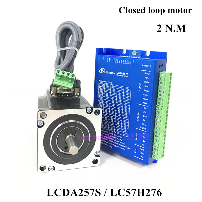 где купить 2.0N.m Nema 23 Closed Loop Stepper Motor Hybrid Servo kit 2 Phase 57 Stepping Motor LC57H276 + LCDA257S DC 20-50V Servo Driver по лучшей цене