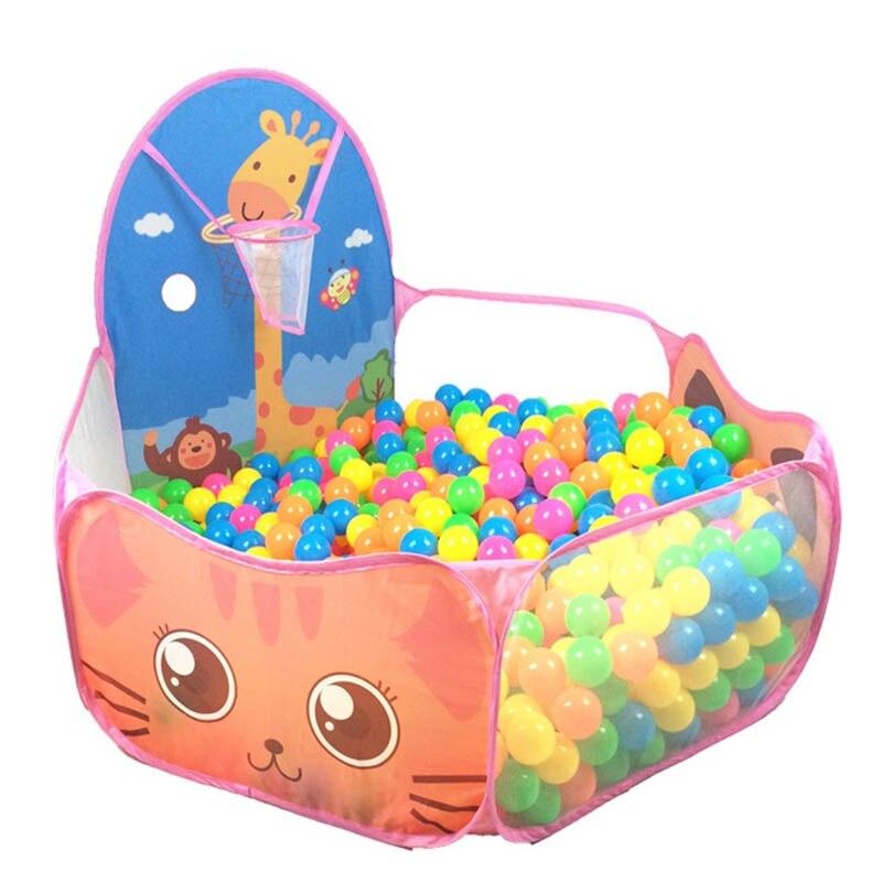 50 adet Topları Bebek Oyun Parkı oyuncaklar Çocuklar Için Eskrim taşınabilir Oyun çadırı kapalı/açık katlanır karikatür okyanus toplar havuzu oyun evi