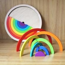 2018 Új 14Pcs Rainbow összeszerelő blokkok Fa játékok csecsemő Creative Rainbow blokkok Gyermek Oktatási Montessori Születésnapi ajándék
