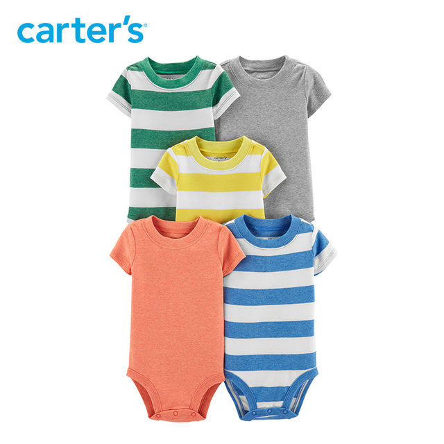 b52a83835 Carters 5-Pack Striped Original Bodysuits fashion striped print solid baby  boy clothes Newborn baby girl clothing 16642310