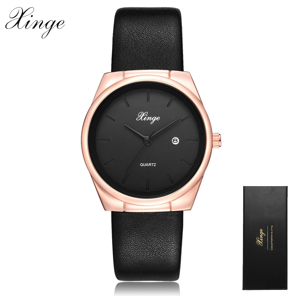 Xinge Brand Fashion Rose Gold Women Watches Leather Business Calendar Quartz Wristwatch Clock Female Sport Black Ladies Watches car styling fuel pump for mikuni 491922 691034 692313 808492 808656 briggs