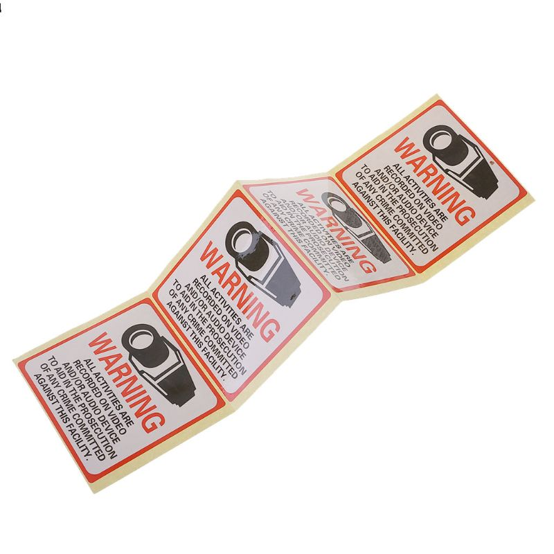 Free shipping 8PCS Warning Stickers SECURITY CAMERA IN USE Self-adhensive Safety Label Signs Decal   HM