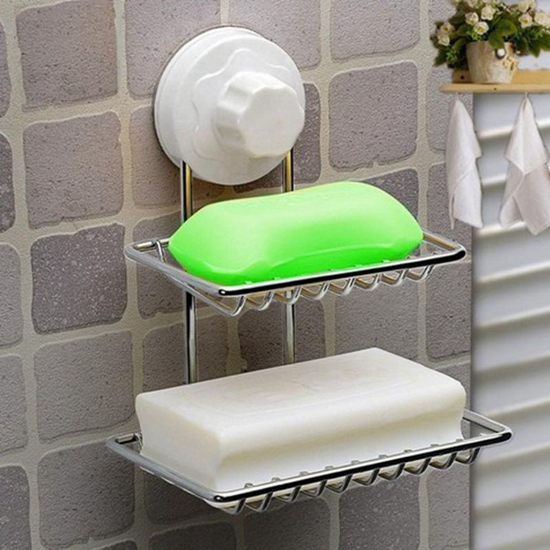 New Fashion strong <font><b>suction</b></font> <font><b>cup</b></font> <font><b>double</b></font> layer soap box soap dishes water bunk soap <font><b>holder</b></font> <font><b>stainless</b></font> <font><b>steel</b></font> bath basket