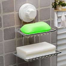 New Fashion strong suction cup double layer soap box soap dishes water bunk soap holder stainless steel bath basket