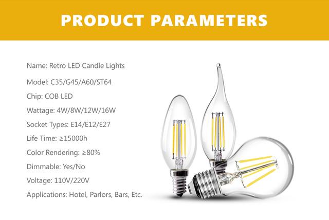 Dimmer Vintage Filament LED Lamps E27 E14 220V Ampoule LED Bulbs Edison Light Home Decoration ST64 A60 C35 E26 E12 110V Dimmable