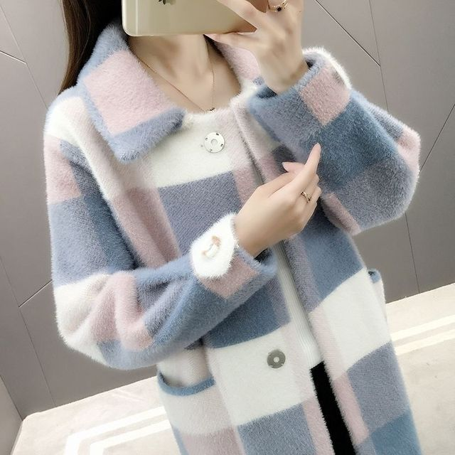 Mink fur plaid autumn and winter new velvet over the knee loose large size long knit cardigan coat female thickening